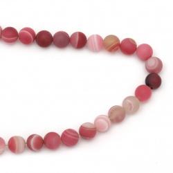 Наниз мъниста полускъпоценен камък АХАТ ивичест розов топче матирано 12 мм ±32 броя