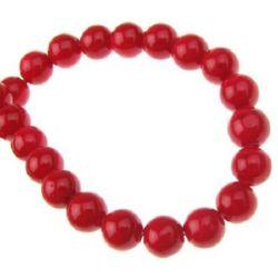 Наниз мъниста полускъпоценен камък КОРАЛ червен оцветен топче 6 мм ±65 броя