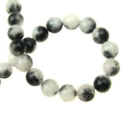 Gemstone Beads Strand,  Jadeite, Round, White-black, 8mm, ~48 pcs