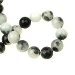 Gemstone Beads Strand,  Jadeite, Round, White-black, 10mm, ~38 pcs
