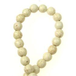 Perle de coarde Piatră semiprețioasă HOWLIT Bile albe naturale 8mm ~ 48 bucăți
