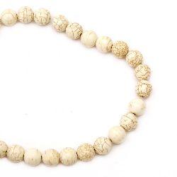 Perle de coarde Piatră semiprețioasă HOWLIT Bile albe naturale 14mm ~ 30 bucăți