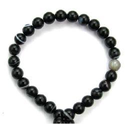 Șir de mărgele din piatră semiprețioasă  AGAT brazilian minge negru cu dungi bila  6 mm ~ 63 bucăți