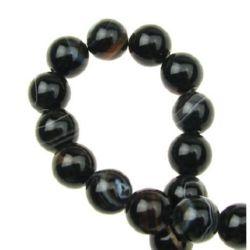 Natural Striped Black Brazilian Agate Round Beads Strand 8mm ~ 49 pcs