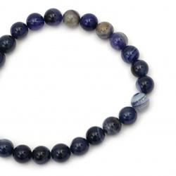 Наниз мъниста полускъпоценен камък АХАТ ивичест син топче 16 мм ±24 броя