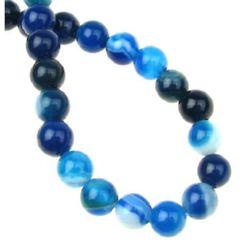 Наниз мъниста полускъпоценен камък АХАТ ИВИЧЕСТ небесно синьо топче 6 мм ~64 броя