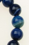Natural Striped Agate Round Beads Strand, Dyed, Blue 10mm ~ 38 pcs