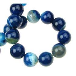 Șir de mărgele din piatră semiprețioasă  AGAT  STRIP bilă albastru cer 14 mm ~ 28 bucăți