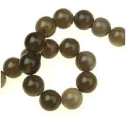 Наниз мъниста полускъпоценен камък АХАТ СИВ топче 14 мм ~28 броя