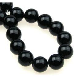 Наниз мъниста полускъпоценен камък АХАТ ЧЕРЕН топче 12 мм ~32 броя