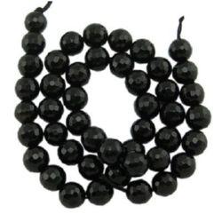 Наниз мъниста полускъпоценен камък АХАТ ЧЕРЕН топче фасетирано 6 мм ~63 броя