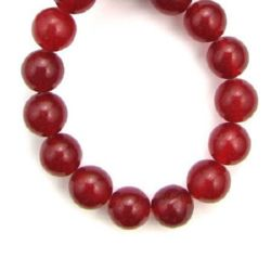 Natural, Dyed Agate Round Beads Strand, Red 10mm ± 39 pcs