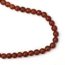 Наниз мъниста полускъпоценен камък АХАТ червен клас А топче 6 мм ±32 броя