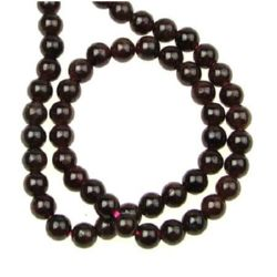 String beads semi-precious stone Garnet, round smooth ball 5 mm ~ 85 pieces