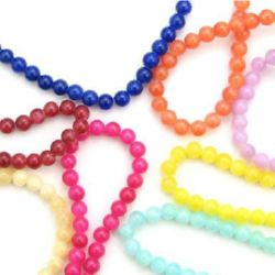 Gemstone Beads Strand, Jade, Round, Mixed Color, 6mm, ~66 pcs