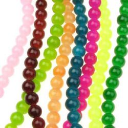 Gemstone Beads Strand, Jade, Round, Mixed Color, 8mm, ~50 pcs
