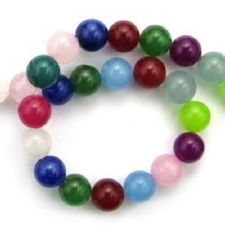 Gemstone Beads Strand, Jadeite, Round, Mixed Color, 10mm, ~39 pcs
