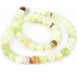 Gemstone Beads Strand,  Jadeite, Round, White, 10mm, ~40 pcs