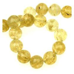 Margele de coarde semiprețioase piatră TURMALINA QUARTZ bilă galbenă de 14 mm ~ 28 bucăți