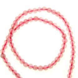 Margele de șiruri piatră semiprețioasă minge cuart PINK 3 mm ~ 135 bucăți