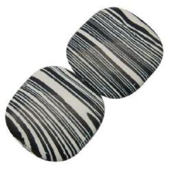 Gemstone Beads Strand, Synthetic Malachite, Flat Square, Black and White, 6mm, 65 pcs
