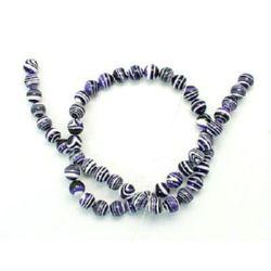 Gemstone Beads Strand, Synthetic Malachite, Round, Black, White and Purple, 8mm, 51 pcs