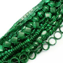 Gemstone Beads Strand, Synthetic Malachite, Mixed Shapes, Black, Green, 14~20x14~20x4~5 mm