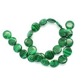 Наниз мъниста полускъпоценен камък МАЛАХИТ СИНТЕТИЧЕН зелено, черно 16x5 мм ~25 броя