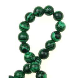 Наниз мъниста полускъпоценен камък МАЛАХИТ СИНТЕТИЧЕН топче 8 мм ~50 броя ~40 см