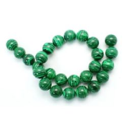 Gemstone Beads Strand, Synthetic Malachite, Round, 16mm, 26 pcs