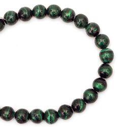 Наниз мъниста полускъпоценен камък МАЛАХИТ НАТУРАЛЕН клас ААА топче 9.5 мм ~21 броя