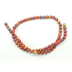 Наниз мъниста полускъпоценен камък МАЛАХИТ СИНТЕТИЧЕН оранжев топче 6 мм ~68 броя