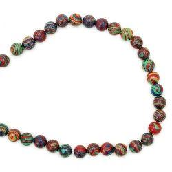 Gemstone Beads Strand, Synthetic Malachite, Round, Orange 8mm, 51 pcs