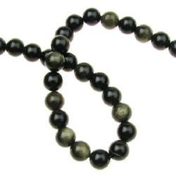 Gemstone Beads Strand, Natural Obsidian, Gold Sheen, Round, 8mm, 48 pcs