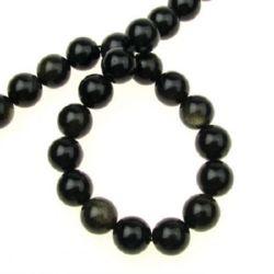 Gemstone Beads Strand, Natural Obsidian, Gold Sheen, Round, 10mm, 38 pcs