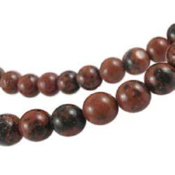 Наниз мъниста полускъпоценен камък ОБСИДИАН махагон топче 8 мм ±50 броя