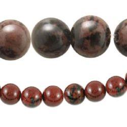 Наниз мъниста полускъпоценен камък ОБСИДИАН махагон топче 12 мм ~32 броя
