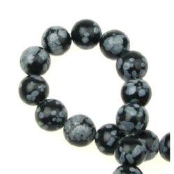Наниз мъниста полускъпоценен камък ОБСИДИАН СНЕЖИНКА топче 8 мм ~50 броя