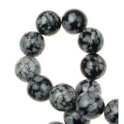 Наниз мъниста полускъпоценен камък ОБСИДИАН СНЕЖИНКА топче 12 мм ~33 броя