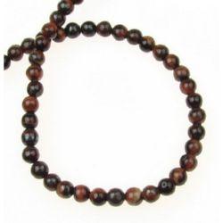 Perle  șnur piatră semiprețioasă ochi de  tigru -minge roșie 4 mm ~ 95 bucăți