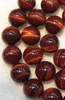 Наниз мъниста полускъпоценен камък ТИГРОВО ОКО червено топче 10 мм ~38 броя