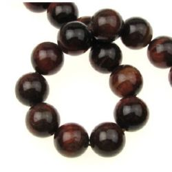 Șir  Perle din piatră semiprețioasă ochi de tigru -bilă roșie 12 mm ~ 32 bucăți
