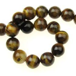 """Șir i Perle de piatră semiprețioasă ochi  de tigru """"B"""" 10 mm ~ 39 bucăți"""