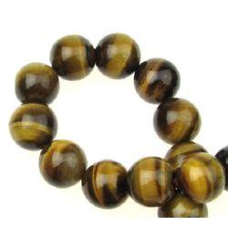 """Perle cu șnururi piatră semiprețioasă Ochi de tigru """"B"""" 12 mm ~ 33 bucăți ~ 40 cm"""
