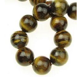 """Perle cu șnur din piatră semiprețioasă Ochi de tigru """"B"""" 14 mm ~ 29 bucăți"""