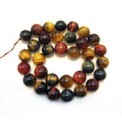 Grade TIGER'S EYE Round Beads Strand yellow, green, red MIX 6mm ~ 65 pcs