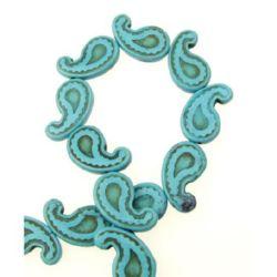 Gemstone Beads Strand, Synthetic Turquoise, 15x20x4mm, ~25 pcs