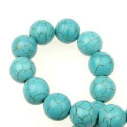 Наниз мъниста полускъпоценен камък ТЮРКОАЗ синтетичен топче 12 мм ~33 броя