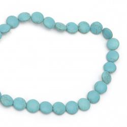 Gemstone Beads Strand, Synthetic Turquoise, Round, 15x5mm, ~26 pcs