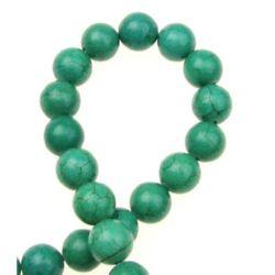 Șireturi Mărgărită piatră semiprețioasă TURKOAZ GREEN minge 10 mm ~ 43 bucăți
